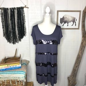 Gray blue tunic style top with sequins